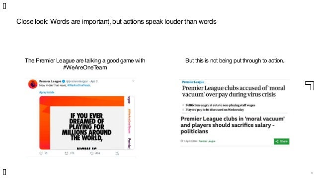 Close look: Words are important, but actions speak louder than words 34 The Premier League are talking a good game with #W...