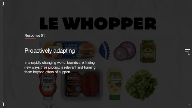 Response 01 Proactively adapting In a rapidly changing world, brands are finding new ways their product is relevant and fr...