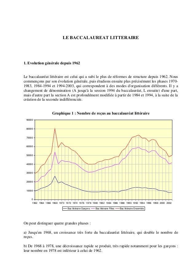 LE BACCALAUREAT LITTERAIRE 1. Evolution générale depuis 1962 Le baccalauréat littéraire est celui qui a subi le plus de ré...