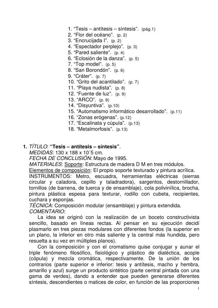 """1. """"Tesis – antítesis – síntesis"""". (pág.1)                    2. """"Flor del océano"""". (p. 2)                    3. """"Encrucij..."""