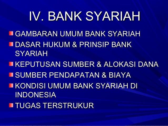 IV. BANK SYARIAHIV. BANK SYARIAH GAMBARAN UMUM BANK SYARIAHGAMBARAN UMUM BANK SYARIAH DASAR HUKUM & PRINSIP BANKDASAR HUKU...