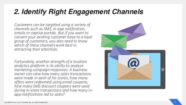 5COPYRIGHT © 2017, JULY SYSTEMS, INC. ALL RIGHTS RESERVED 2. Identify Right Engagement Channels Customers can be targeted ...