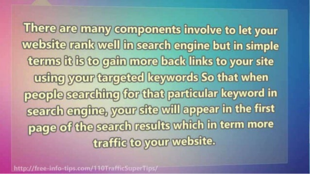 There are many components involve to let your website rank well in search engine but in simple terms it i's= 'to~ga'in mor...