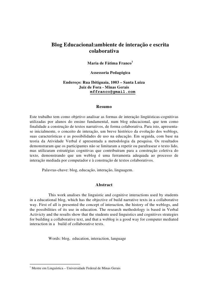 Blog Educacional:ambiente de interação e escrita                                colaborativa                              ...