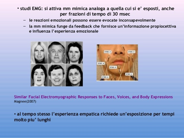 • studi EMG: si attiva mm mimica analoga a quella cui si e' esposti, anche per frazioni di tempo di 30 msec – le reazioni ...