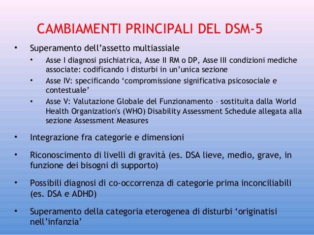 CAMBIAMENTI PRINCIPALI DEL DSM-5 •  Superamento dell'assetto multiassiale • • •  Asse I diagnosi psichiatrica, Asse II RM ...