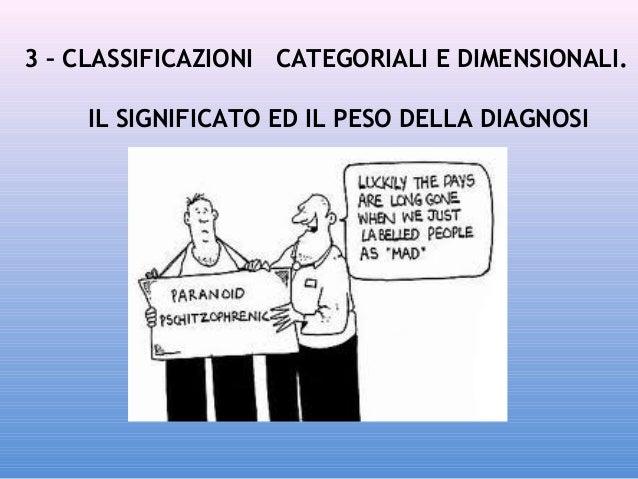 3 – CLASSIFICAZIONI CATEGORIALI E DIMENSIONALI. IL SIGNIFICATO ED IL PESO DELLA DIAGNOSI