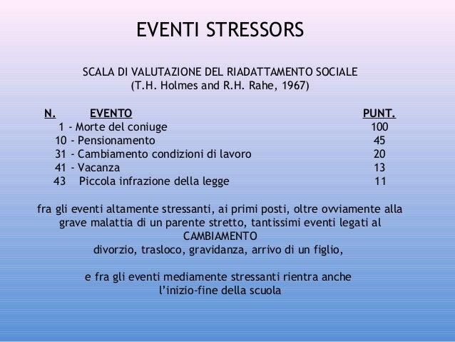 EVENTI STRESSORS SCALA DI VALUTAZIONE DEL RIADATTAMENTO SOCIALE (T.H. Holmes and R.H. Rahe, 1967) N.  EVENTO 1 - Morte del...