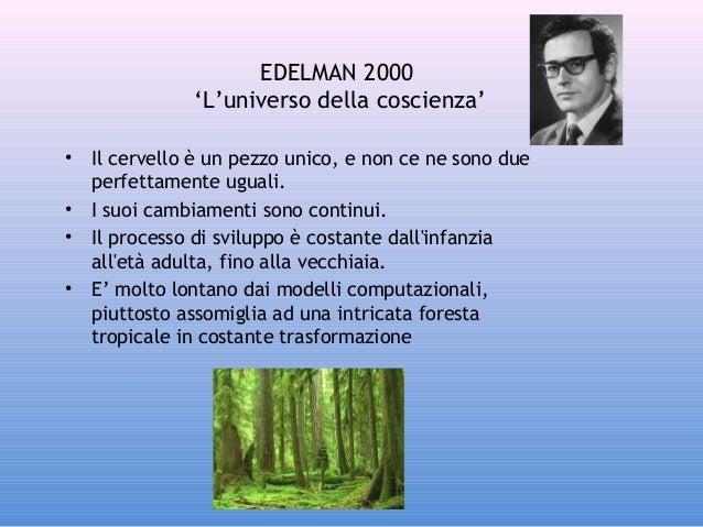 EDELMAN 2000 'L'universo della coscienza' • • • •  Il cervello è un pezzo unico, e non ce ne sono due perfettamente uguali...