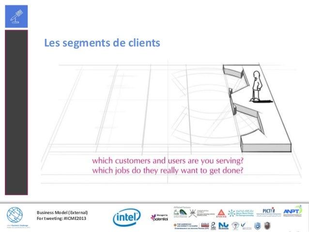 Business Model (External)For tweeting: #ICME2013Exemples des segments de clients• Marché de masse• Niche de marché• Segmen...