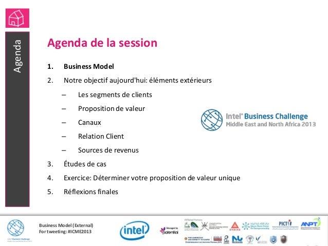 Business Model (External)For tweeting: #ICME2013Agenda de la session1. Business Model2. Notre objectif aujourdhui: élément...