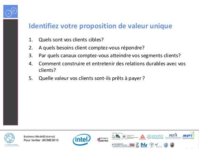 Business Model (External)For tweeting: #ICME2013Compte Twitter Intel Challenge MESuivez nous sur Twitter: @ICME2013