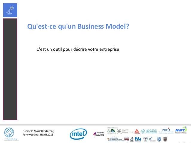 Business Model (External)For tweeting: #ICME2013Quest-ce quun Business Model?Cest un outil pour décrire votre entreprise