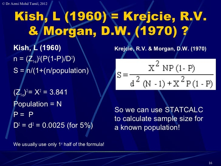 Krejcie And Morgan Sample Size Table Sample Size