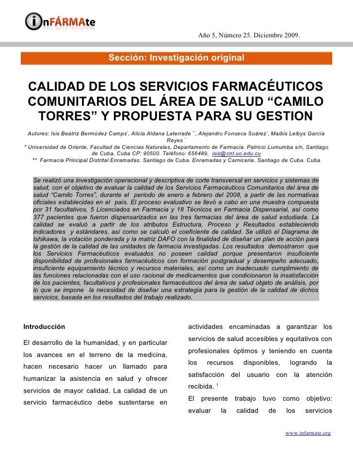 Año 5, Número 25. Diciembre 2009.                                   Sección: Investigación original    CALIDAD DE LOS SERV...