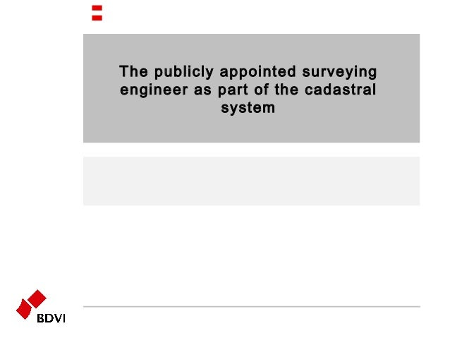 The publicly appointed surveying engineer as part of the cadastral system