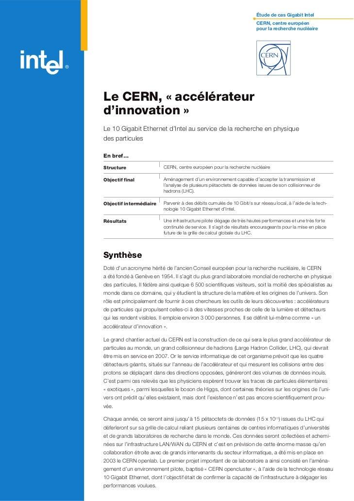 Étude de cas Gigabit Intel                                                                         CERN, centre européen  ...