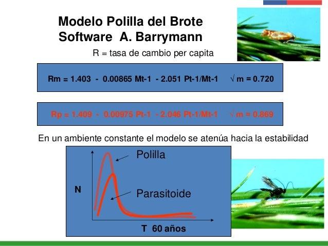 Modelo Polilla del Brote Software A. Barrymann Rm = 1.403 - 0.00865 Mt-1 - 2.051 Pt-1/Mt-1 √ m = 0.720 Rp = 1.409 - 0.0097...