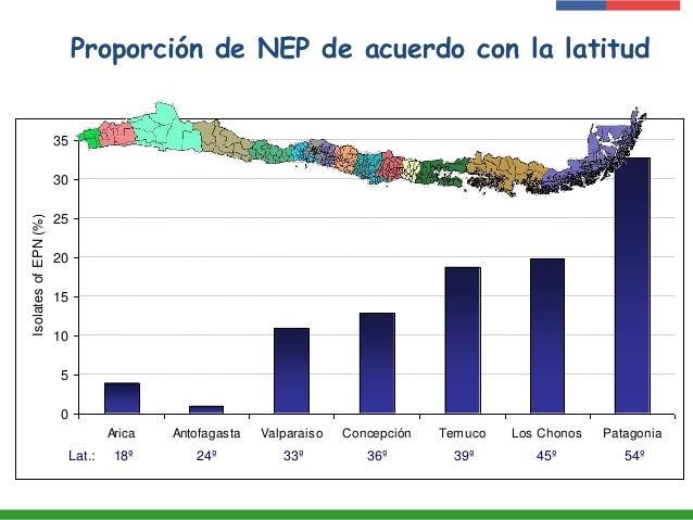 Proporción de NEP de acuerdo con la latitud 0 5 10 15 20 25 30 35 Arica Antofagasta Valparaiso Concepción Temuco Los Chono...