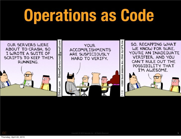 Operations as Code                                  Copyright © 2010 Opscode, Inc - All Rights Reserved   1 Thursday, Apri...