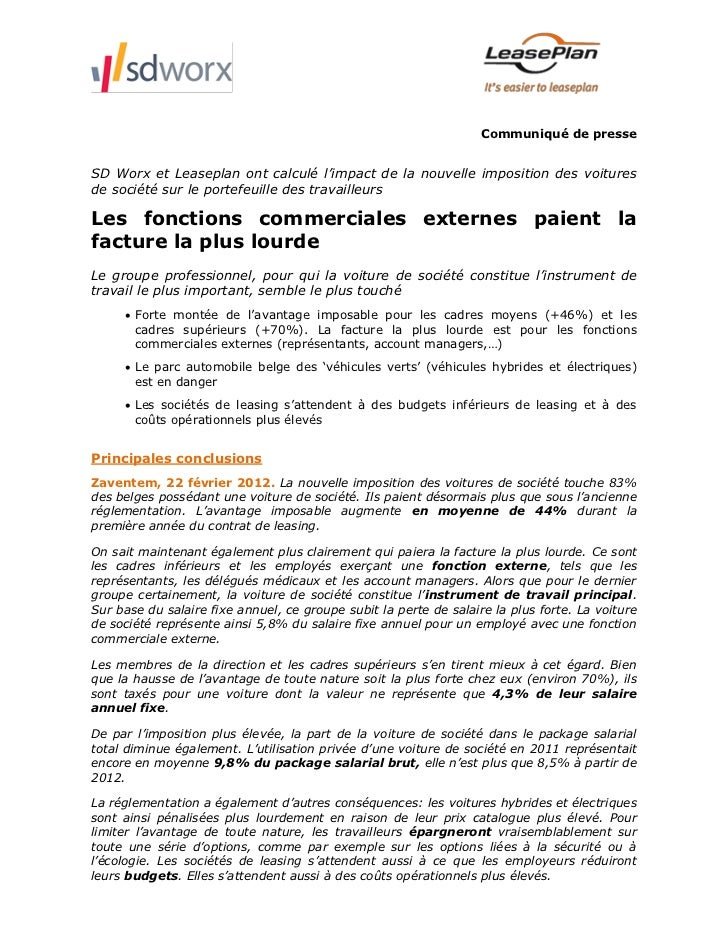 Communiqué de presseSD Worx et Leaseplan ont calculé l'impact de la nouvelle imposition des voituresde société sur le port...