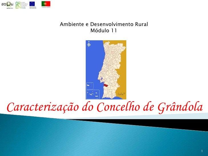 Ambiente e Desenvolvimento Rural<br />Módulo 11<br />Caracterização do Concelho de Grândola<br />1<br />
