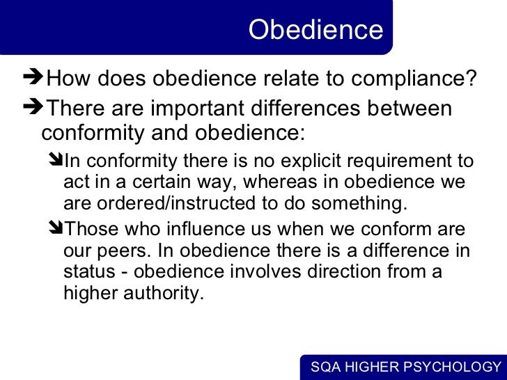the influence of conformity and obedience essay Task: outline and evaluate findings from conformity and obedience research and consider explanations for conformity (and non-conformity), as well as evaluating milgram's studies of obedience.
