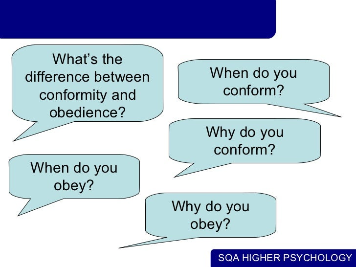 describe the differences between conformity and obedience Conformity (adapted from the  many experimenters see little difference between animals and humans,  c milgram's obedience experiments in the above .