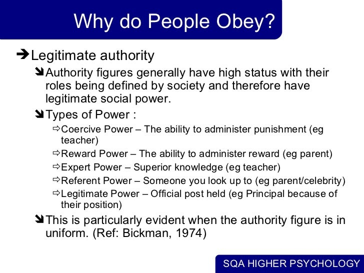obedience to authority essays People are social beings, who like to play by the rules, therefore social influence, social power, obedience to authority and conformity is one of the most effective.