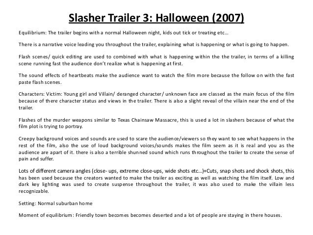 3  conventions of slasher and 3 film trailer analysis