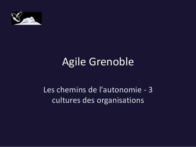 Agile Grenoble Les chemins de l'autonomie - 3 cultures des organisations