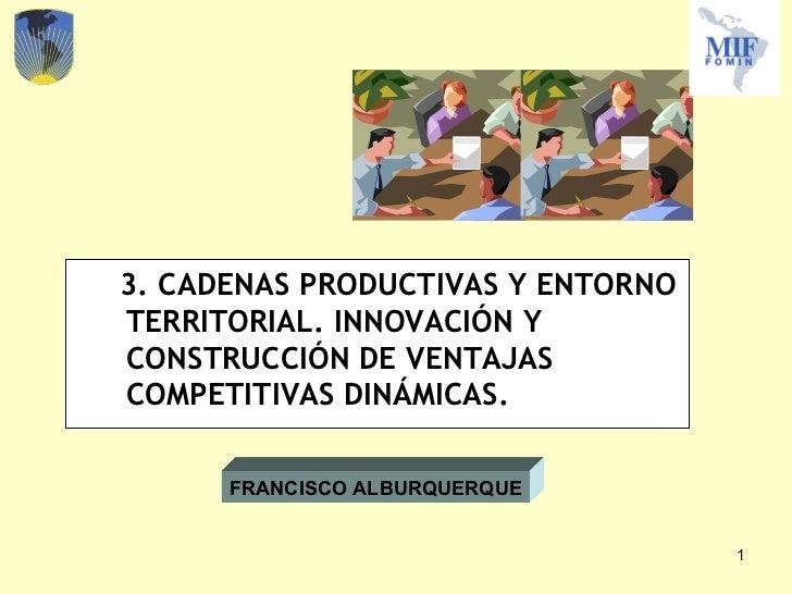 <ul><li>3. CADENAS PRODUCTIVAS Y ENTORNO TERRITORIAL. INNOVACIÓN Y CONSTRUCCIÓN DE VENTAJAS COMPETITIVAS DINÁMICAS. </li><...