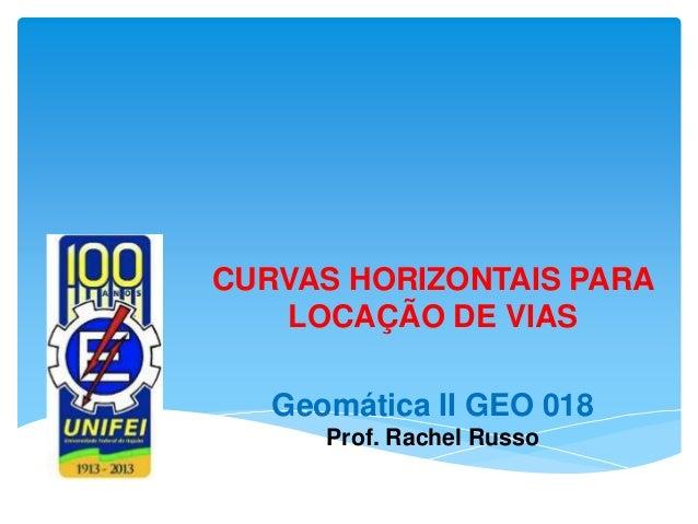 CURVAS HORIZONTAIS PARA LOCAÇÃO DE VIAS Geomática II GEO 018 Prof. Rachel Russo