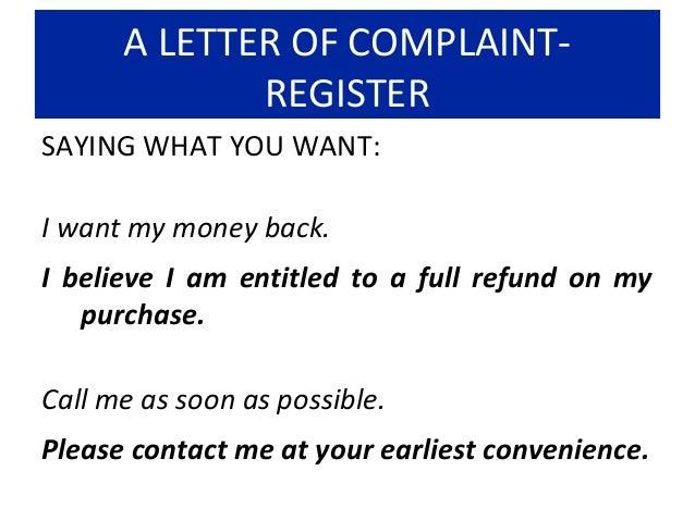 21 a letter of complaint