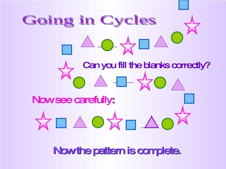 Now the pattern is complete. Going in Cycles Can you fill the blanks correctly? Now see carefully :