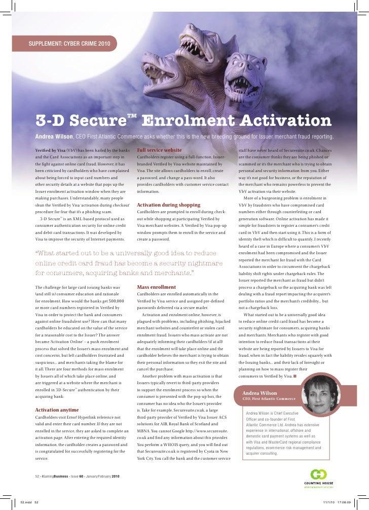 3-D Secure Enrolment Activation