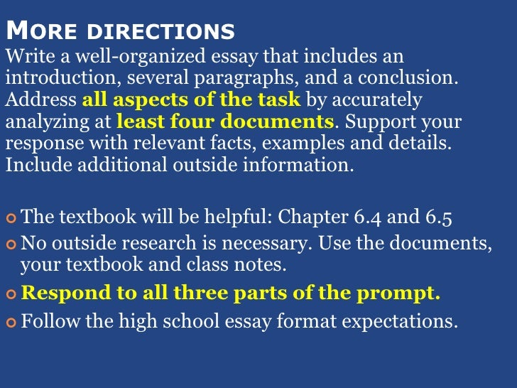dbq essay directions