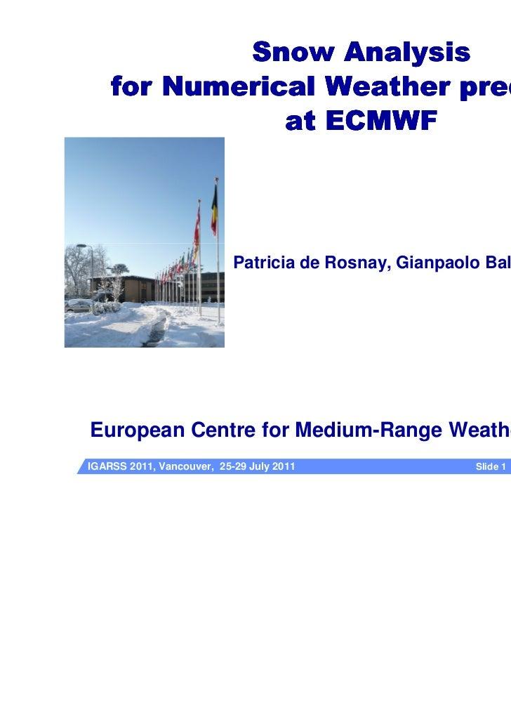 Snow Analysis    for Numerical Weather prediction               at ECMWF                           Patricia de Rosnay, Gia...