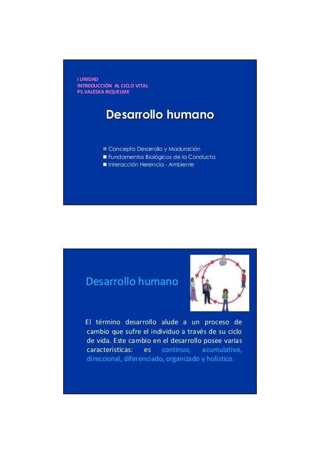 I UNIDAD INTR0DUCCIÓN AL CICLO VITAL PS.VALESKA RIQUELME  Desarrollo humano Concepto Desarrollo y Maduración Fundamentos B...