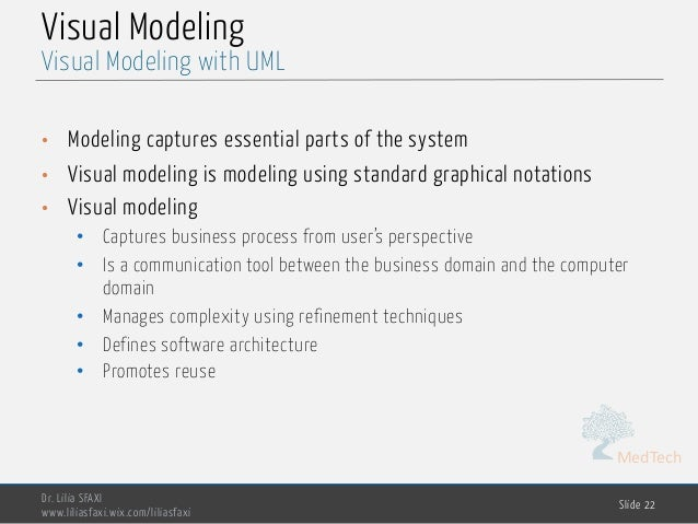MedTech Visual Modeling • Modeling captures essential parts of the system • Visual modeling is modeling using standard gra...