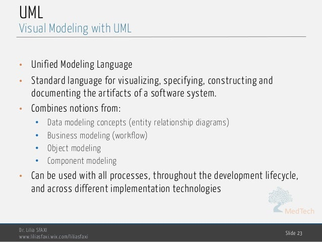 MedTech UML • Unified Modeling Language • Standard language for visualizing, specifying, constructing and documenting the ...