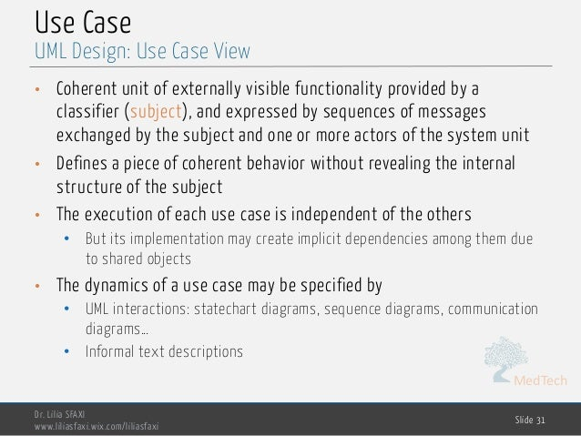 MedTech Use Case • Coherent unit of externally visible functionality provided by a classifier (subject), and expressed by ...