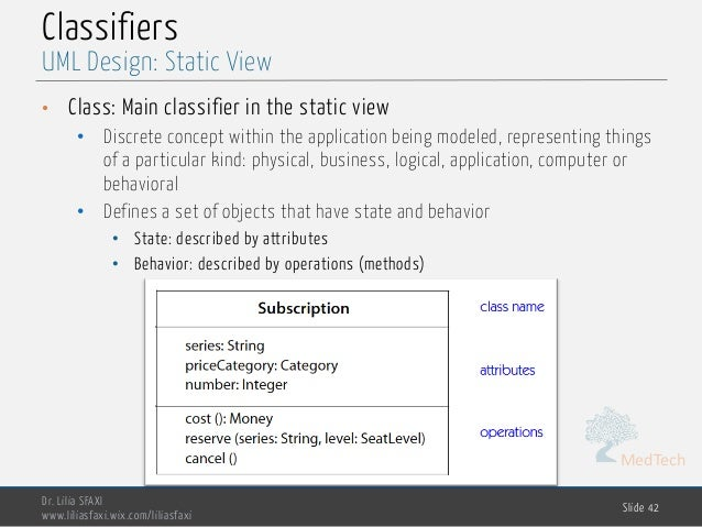MedTech Classifiers • Class: Main classifier in the static view • Discrete concept within the application being modeled, r...