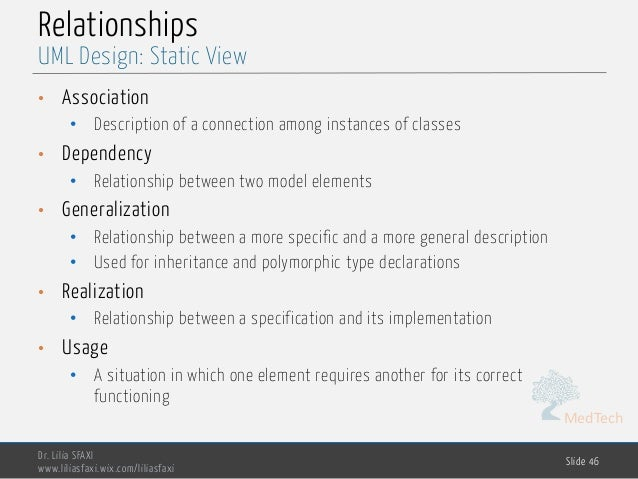 MedTech Relationships • Association • Description of a connection among instances of classes • Dependency • Relationship b...
