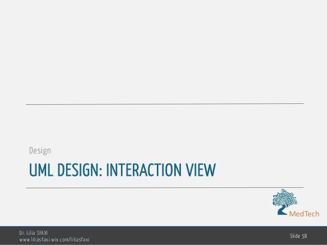 MedTech UML DESIGN: INTERACTION VIEW Design Dr. Lilia SFAXI www.liliasfaxi.wix.com/liliasfaxi Slide 58