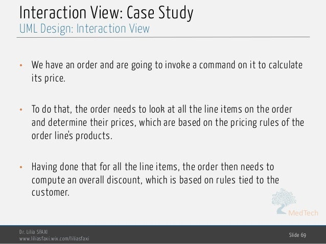 MedTech Interaction View: Case Study • We have an order and are going to invoke a command on it to calculate its price. • ...