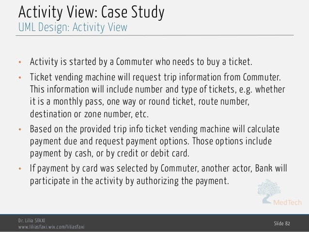 MedTech Activity View: Case Study • Activity is started by a Commuter who needs to buy a ticket. • Ticket vending machine ...