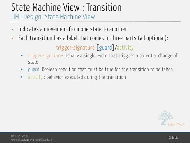 MedTech State Machine View : Transition • Indicates a movement from one state to another • Each transition has a label tha...