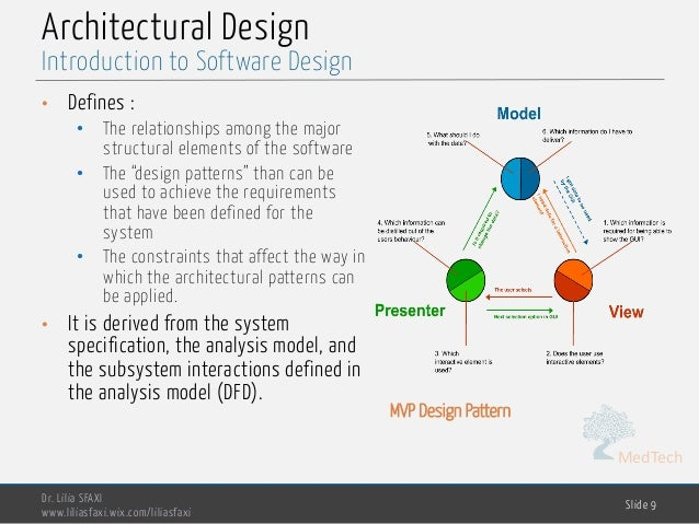 """MedTech Architectural Design • Defines : • The relationships among the major structural elements of the software • The """"de..."""
