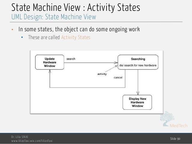 MedTech State Machine View : Activity States • In some states, the object can do some ongoing work • These are called Acti...